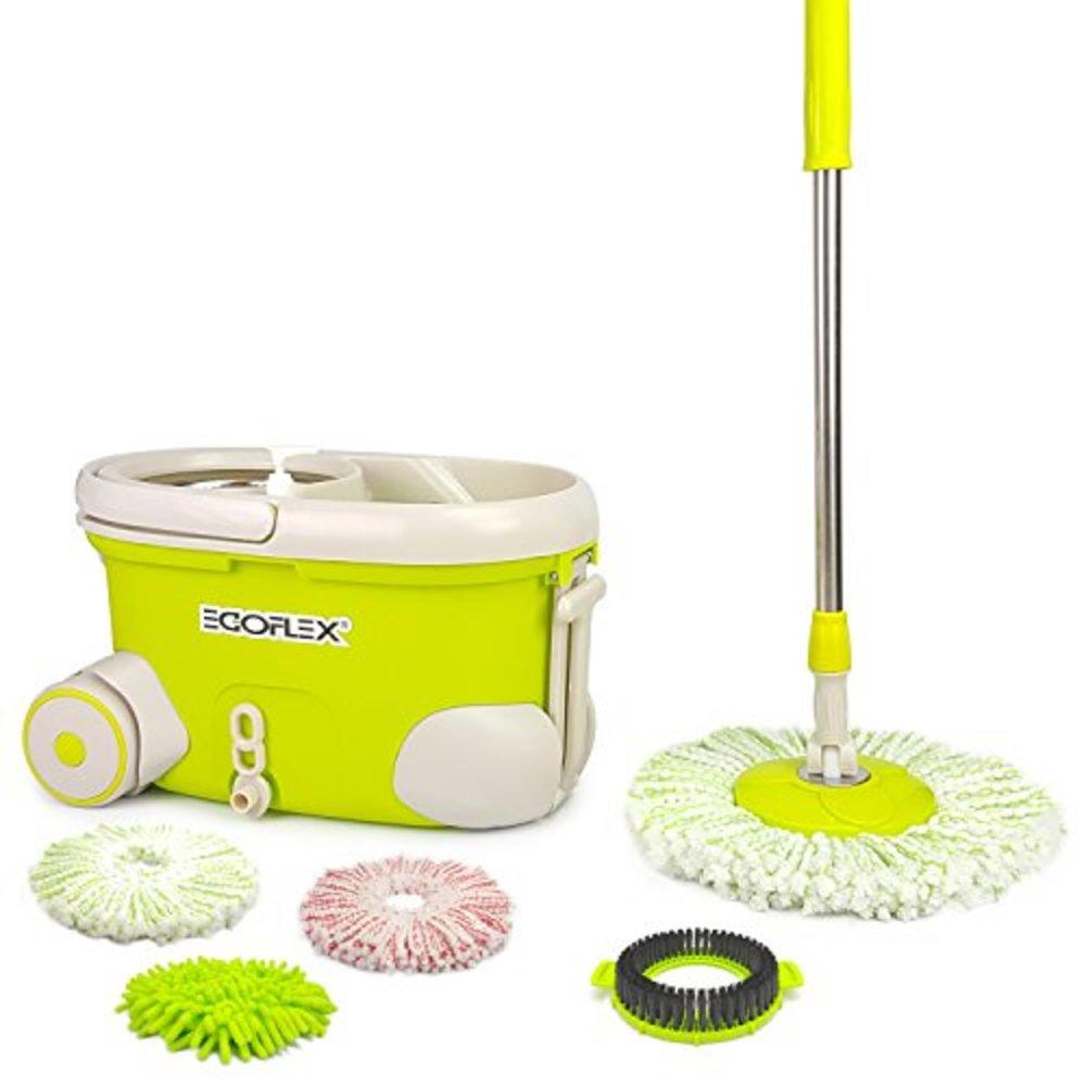 EGOFLEX Spin Mop Bucket System   Premium Microfiber Floor Mop With  Stainless Steel Easy Wringer Rolling