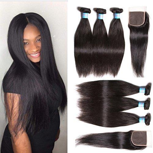 Snagshout klaiyi hair brazilian silky straight hair weave 3 klaiyi hair brazilian silky straight hair weave 3 bundles with 1pc lace closure 44inch pmusecretfo Images