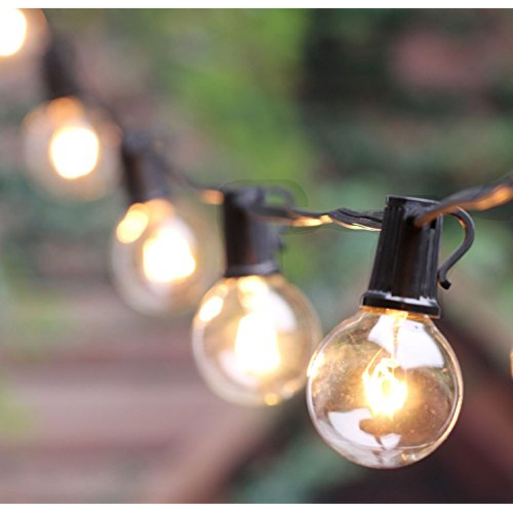 Vintage Backyard Patio Lights with 25 Clear Globe for Outdoor G40 String Lights
