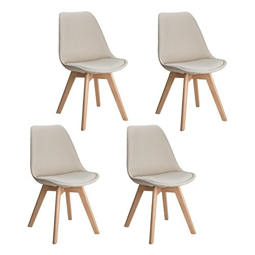 CO Z Set Of 4 DSW Eames Chairs, Mid Century Modern Upholstered Fabric