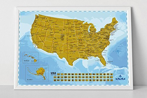 Snagshout Wonderful Maps Scratch Off USA Map Poster With All US - Map of us state capitals
