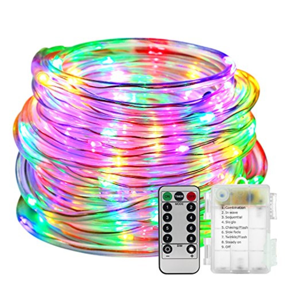 Snagshout led rope lights battery operated with remote timer 8 led rope lights battery operated with remote timer 8 mode twinkle lights multi color aloadofball Gallery