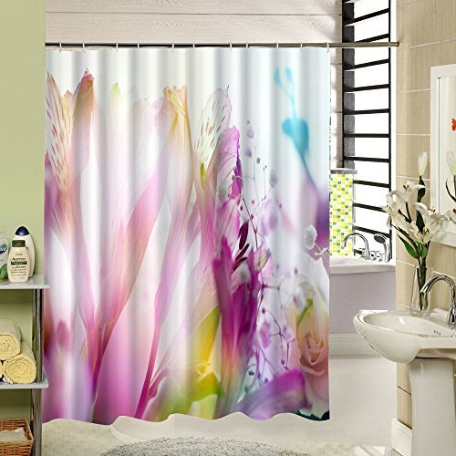 Pink And Purple Abstract Floral Theme Shower Curtains Waterproof Set For Modern Bathroom Picture Print Art