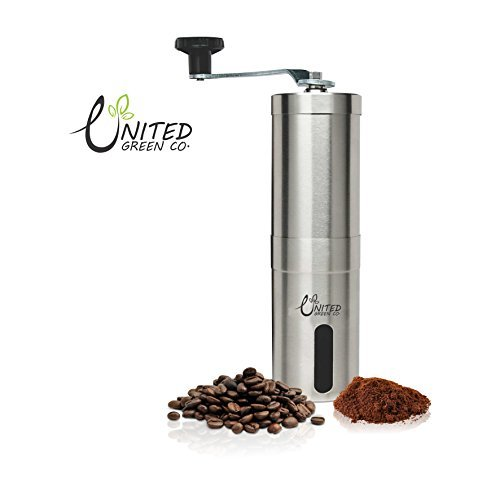 United Green Co Manual Coffee Grinder with Ceramic Burr, Portable Coffee  Mill, Aeropress Compatible, Stainless Steel,