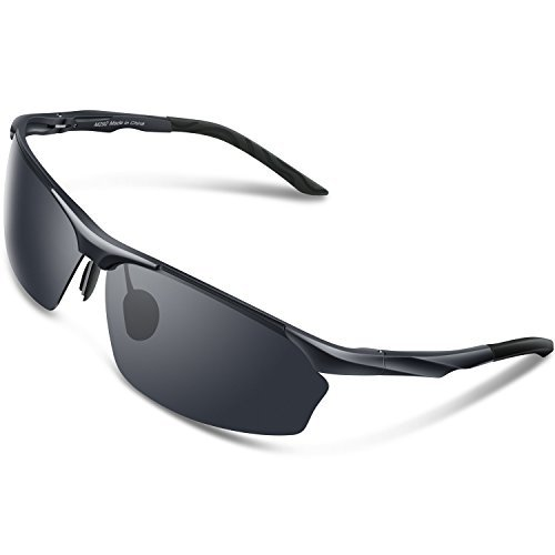 9c121ff3a0 Torege Men s Sports Style Polarized Sunglasses For Cycling Running Fishing  Driving Golf Unbreakable Al-Mg