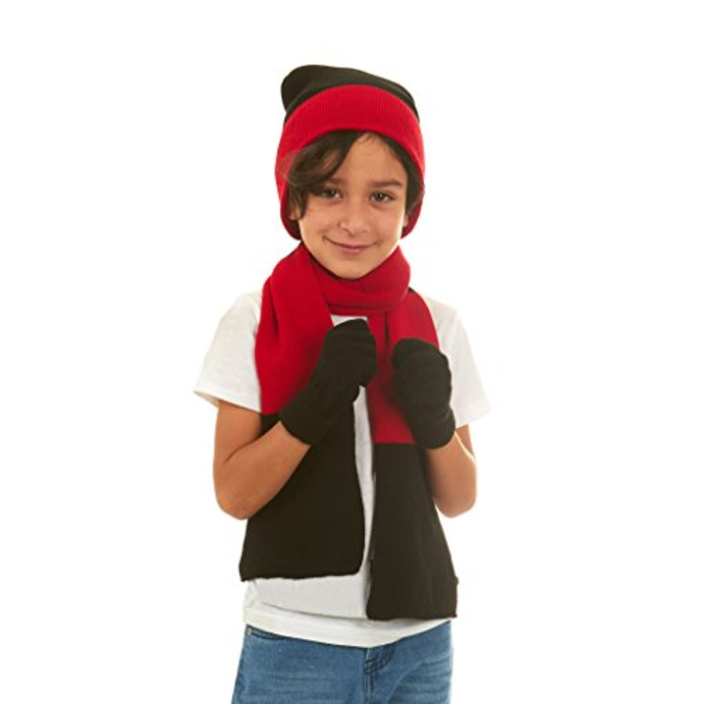 80bc4f0f818 Polar Wear Boys Winter Knit Slouch Beanie Hat Scarf Gloves Set (See More  Colors)