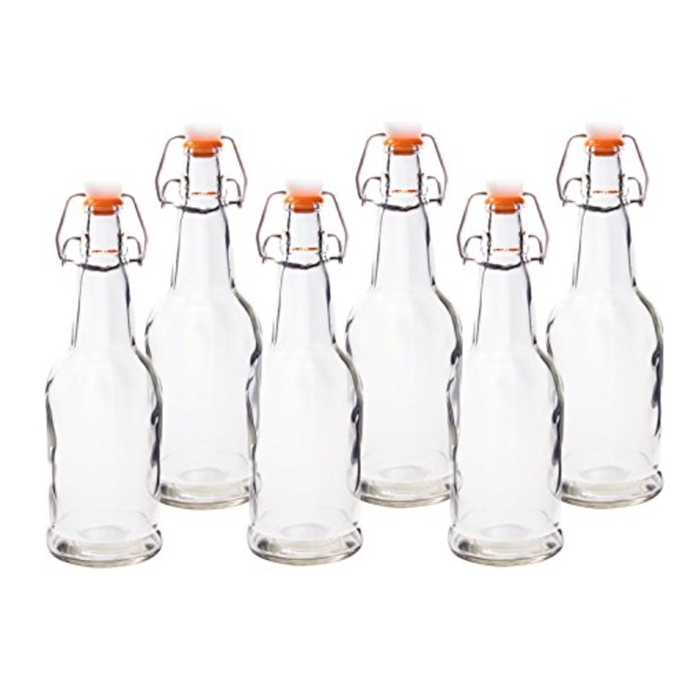 HomEquip 16 Oz Reusable Glass Beer Bottles 6 Pk
