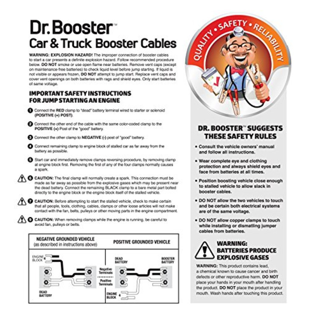 Snagshout Droster Super Heavy Duty Booster Cables 2 Gauge 25