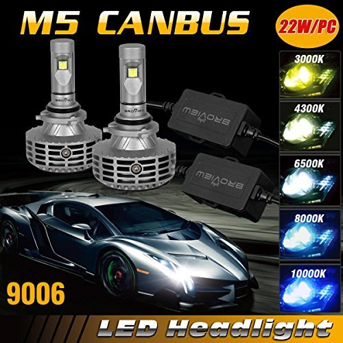 BROVIEW M5 Canbus LED Headlights 9006 - 6000LM 9006/HB4/9012 LED All-in-One  Kit 44W LED Bulbs Cree+Philips Chip - PnP - Replaces Halogen/Xenon HID