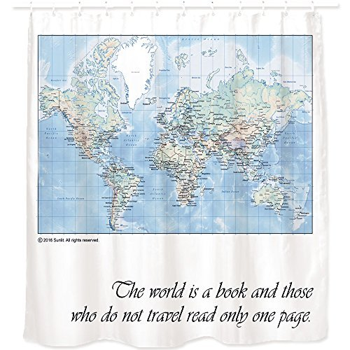 World Map Shower Curtain with Inspiring Quote. Detailed Major Cities. PVC  Free, Non-toxic and Odorless Waterproof Fabric. 71\'x71\' Large Home Décor ...