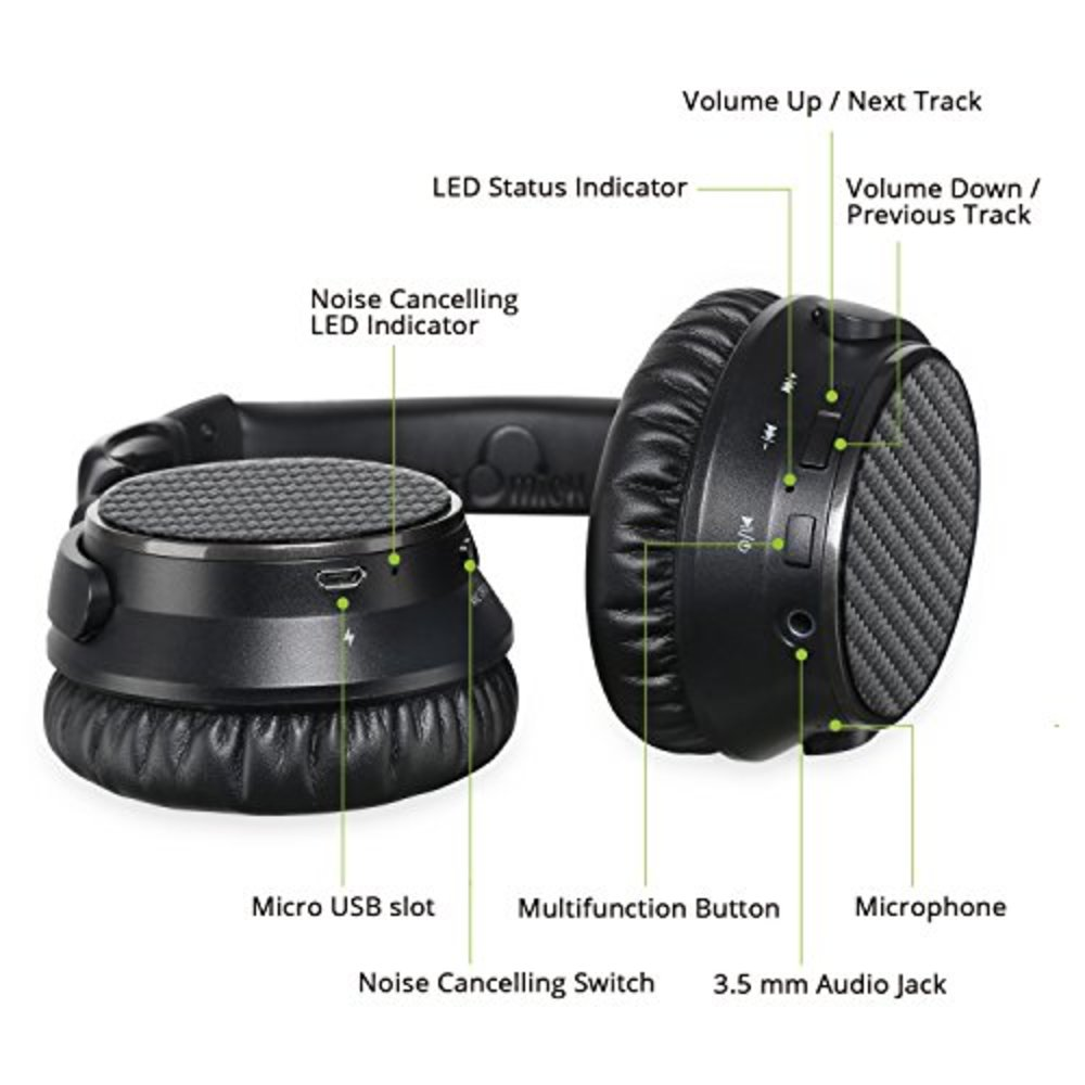 b574af314c4 Active Noise Cancelling Bluetooth Headphones, iDeaUSA Wireless Headphones  with Microphones Over Ear Headphones with aptX